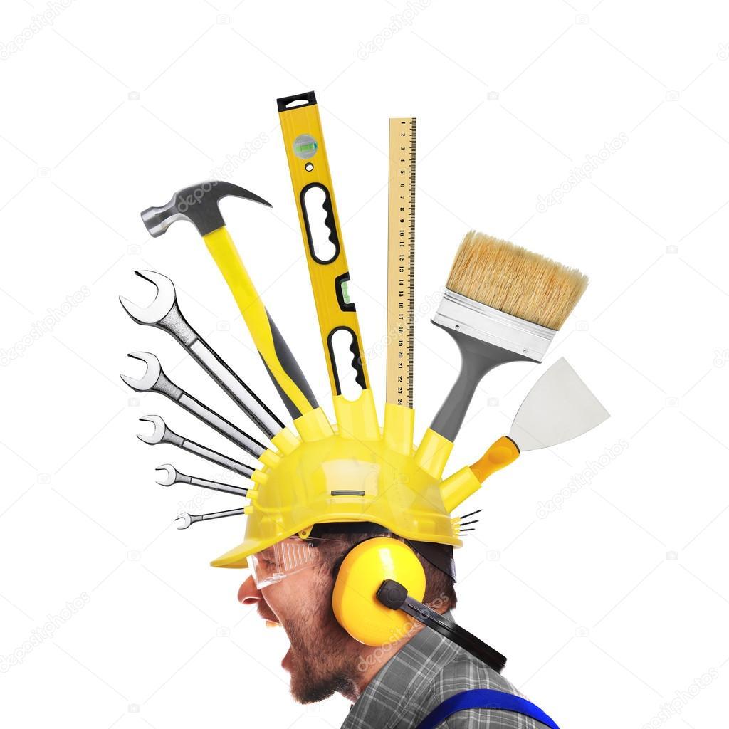 Builder yells in a yellow helmet