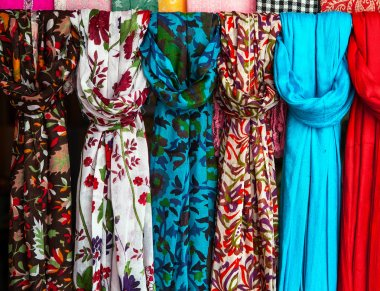 Colorful scarves at a market