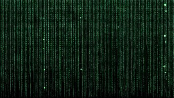 Binärcode im Vordergrund eines Netzwerkschalters mit LED-Leuchten zur Anzeige in einem Rechenzentrum-Backup-System im Rechenzentrum