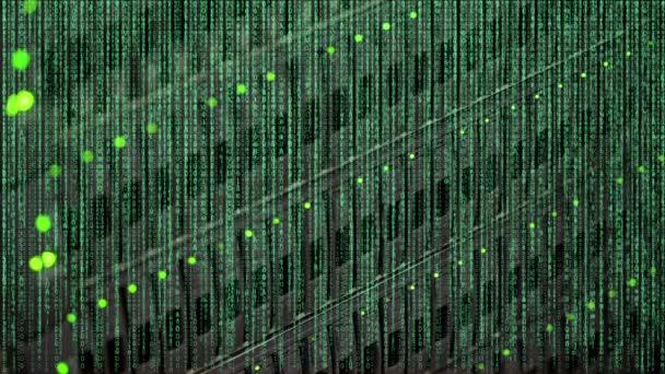 Binärcode im Vordergrund eines Netzwerksschalters mit LED-Leuchten zur Anzeige in einem Rechenzentrum-Backup-System im Rechenzentrum mit Text Data Center