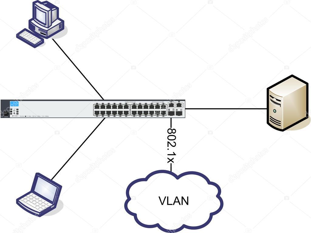 Schema Cablaggio Rete : Illustrazione del diagramma di rete u2014 foto stock © vschlichting