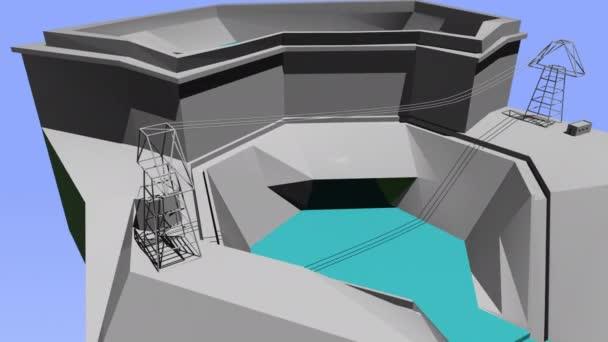 4k Video von Ökologie und industriellem abstrakten Fabrikbau.