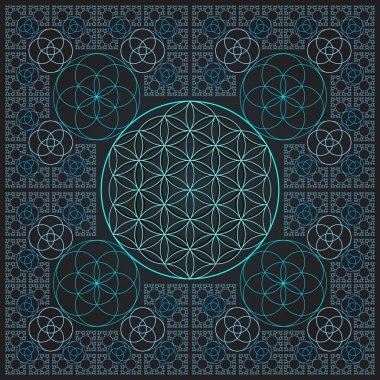 circle outline flower of life fractal sacred geometr