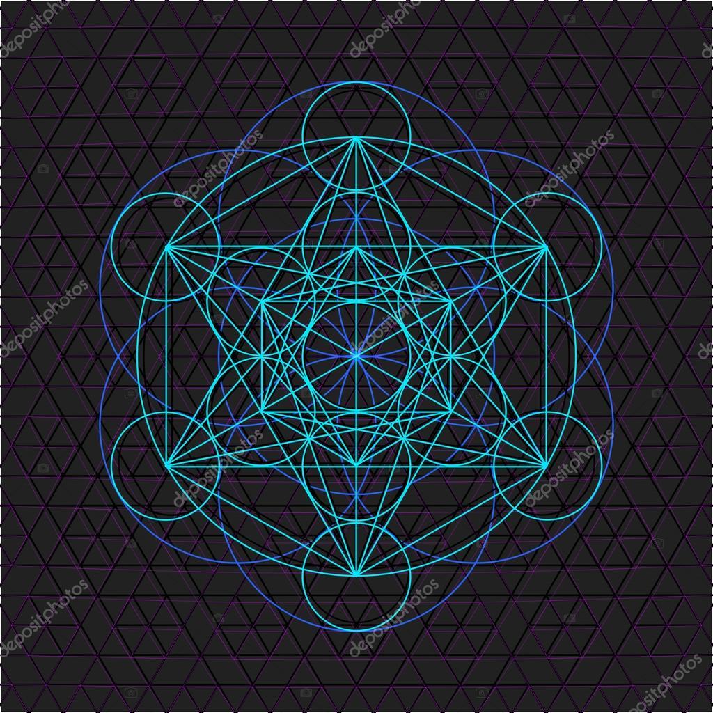 Metatron outline seed of life sacred geometr — Stock Vector