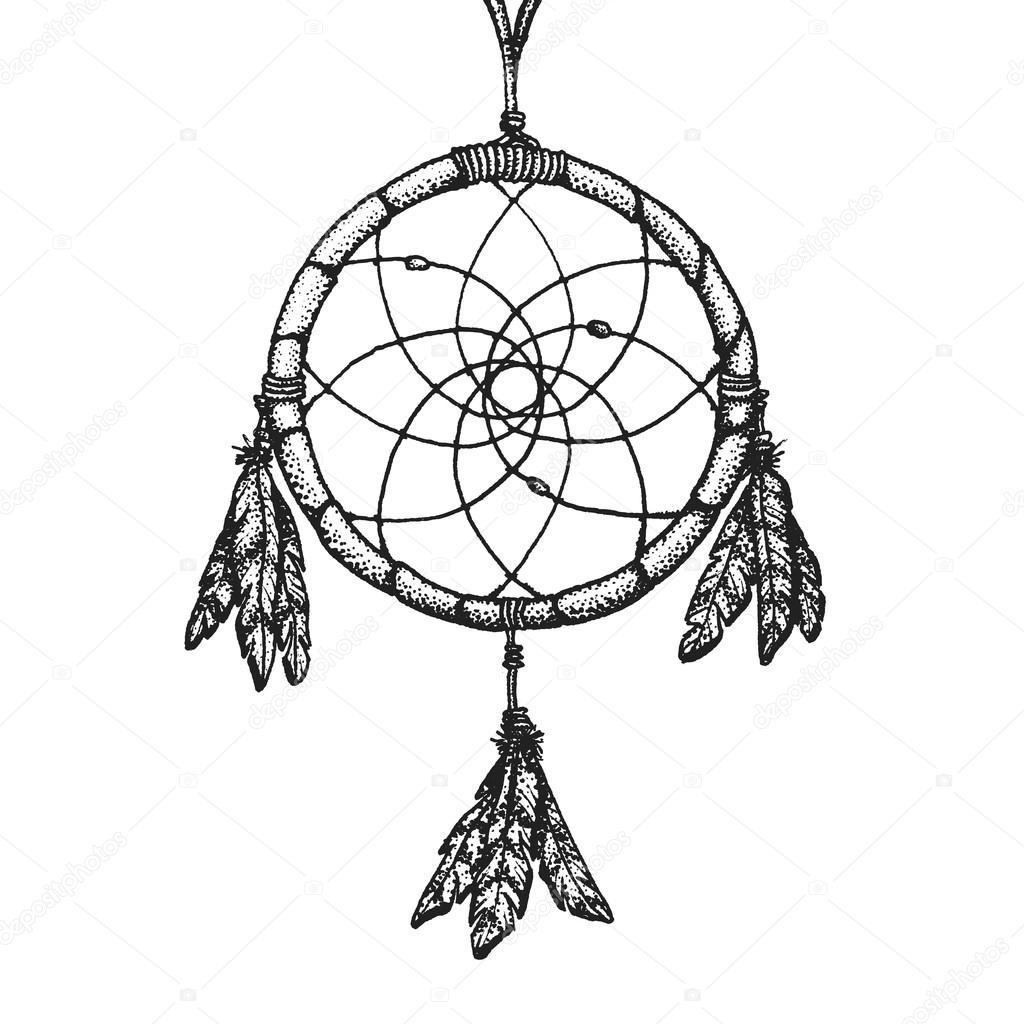 Vector Atrapasueños Blanco Y Negro Dibujado A Mano Ilustración