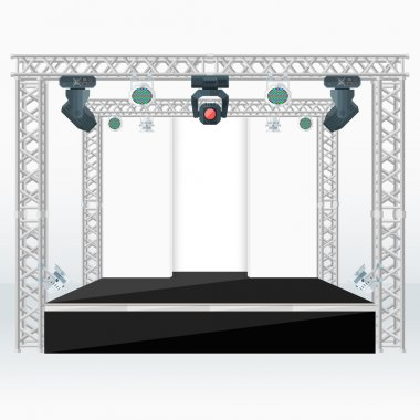 color flat stage scenes back lights truss illustratio