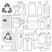 Fotografia Varie icone dei rifiuti e riciclaggio