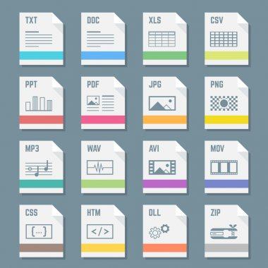 File formats icons set with illustrations