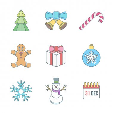 Christmas outline color icons