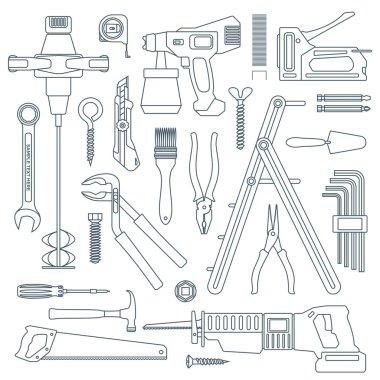 Dark outline various house remodel instruments set