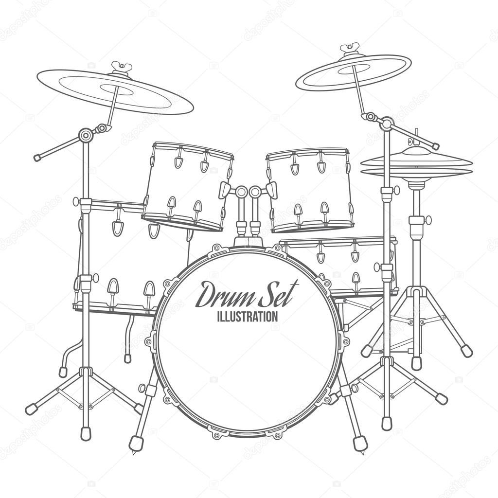 dark contour vector drum set technical illustration  u2014 stock vector  u00a9 trikona  64428935