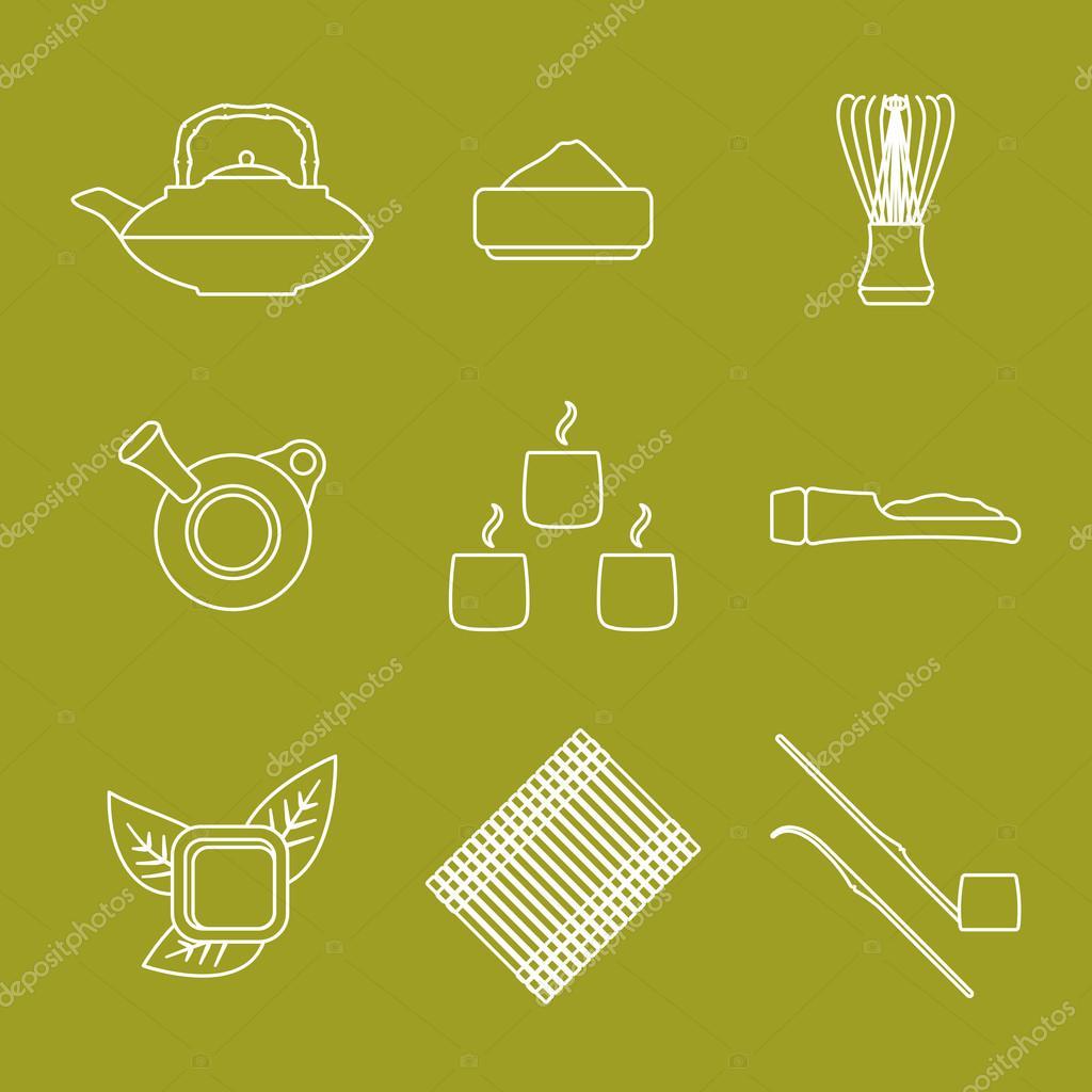 Various outline japan tea ceremony equipment icons set