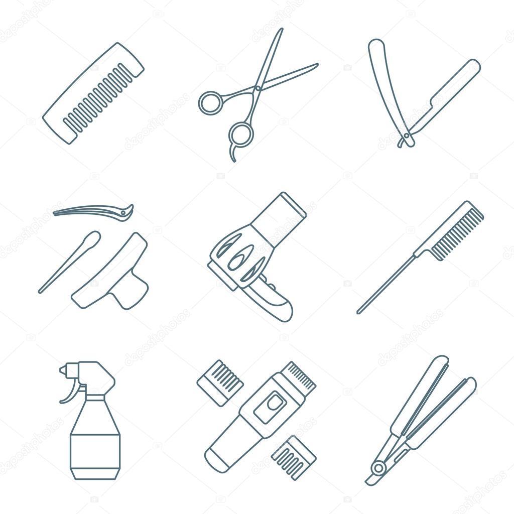 Hairdresser tools dark color outline icons set