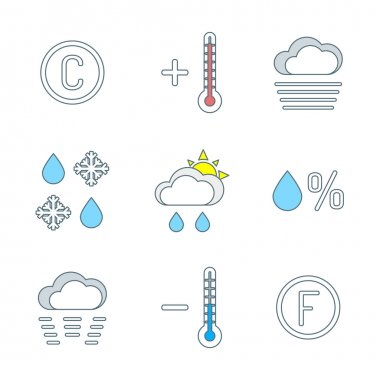 Vector colored outline weather forecast icons set white backgroun clip art vector