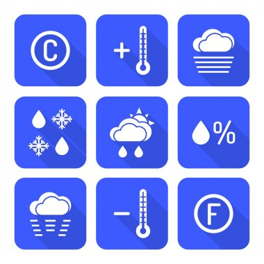 solid white color flat style weather forecast icons se