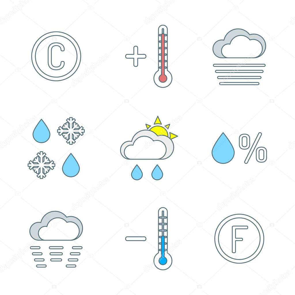 colored outline weather forecast icons se