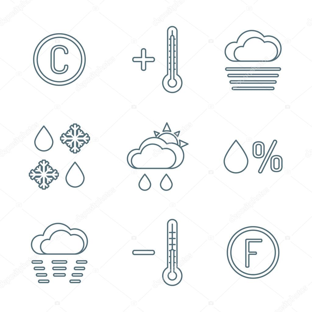 dark outline weather forecast icons se