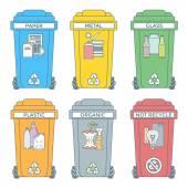 színezett körvonal választja el a szemetet tartályokat ikonok Címkék