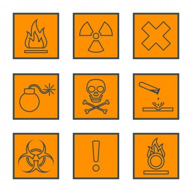 orange square black outline hazardous waste symbols warning sign