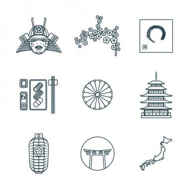 dark color outline various japanese icons se