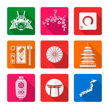 white solid flat style japanese icons se