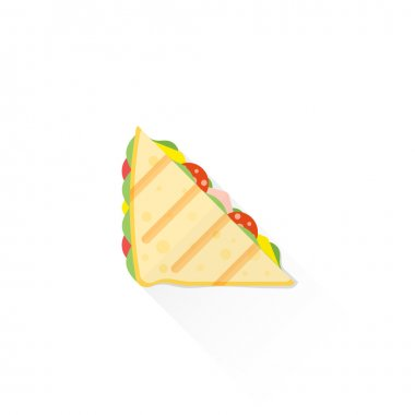 color fast food club sandwich icon illustratio