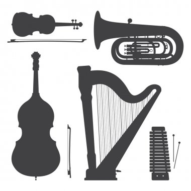 monochrome music instruments silhouettes illustration collection