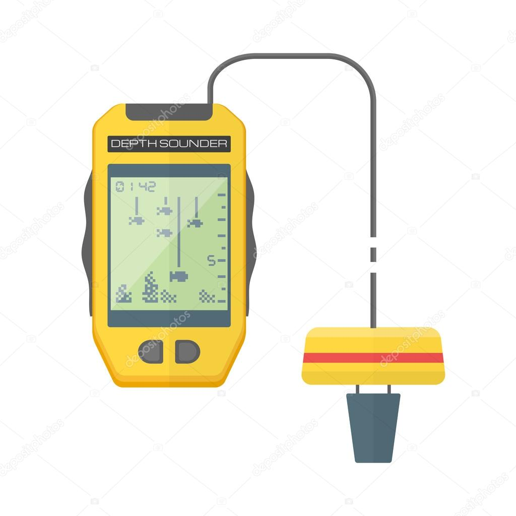 Vector flat style yellow fish finder sonar illustratio