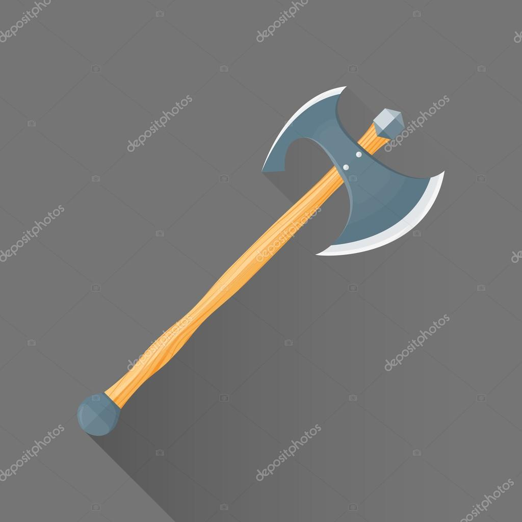 Vector flat style medieval battle double ax illustration ico