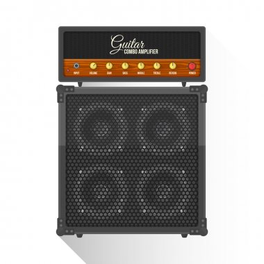 vector flat style electric guitar combo amplifier cabinet illust
