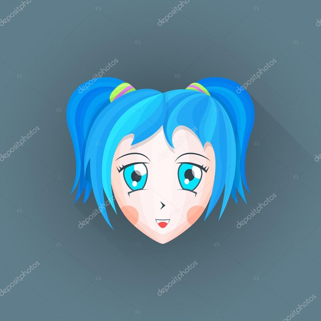 Vector Plat Japonais Dessin Animé Manga Girl Illustration Tête Ico