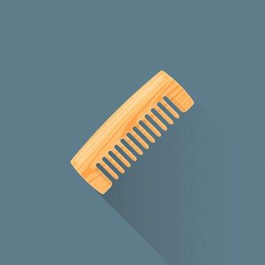 vector flat wooden comb illustration ico