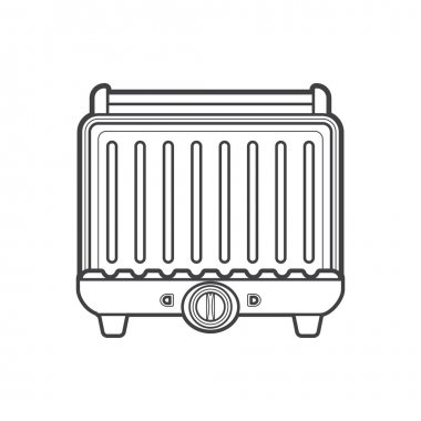 outline metal kitchen electric grill illustratio
