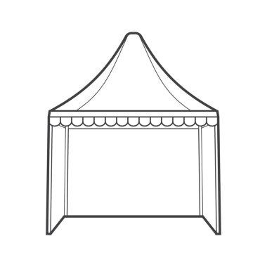outline folding tent marquee illustratio