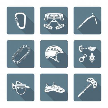 white monochrome various alpinism tools icons collectio