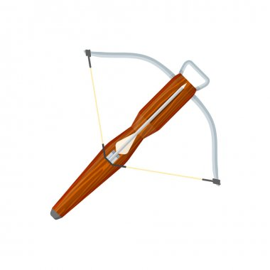 flat style colored medieval crossbow arrow icon illustratio