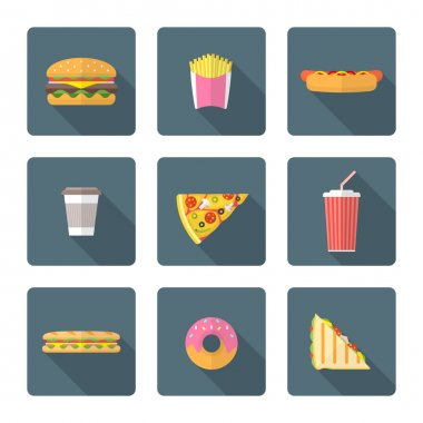 flat style colored various fast food icons collectio
