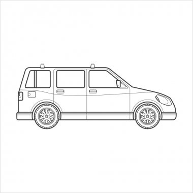 outline wagon car body style illustration ico