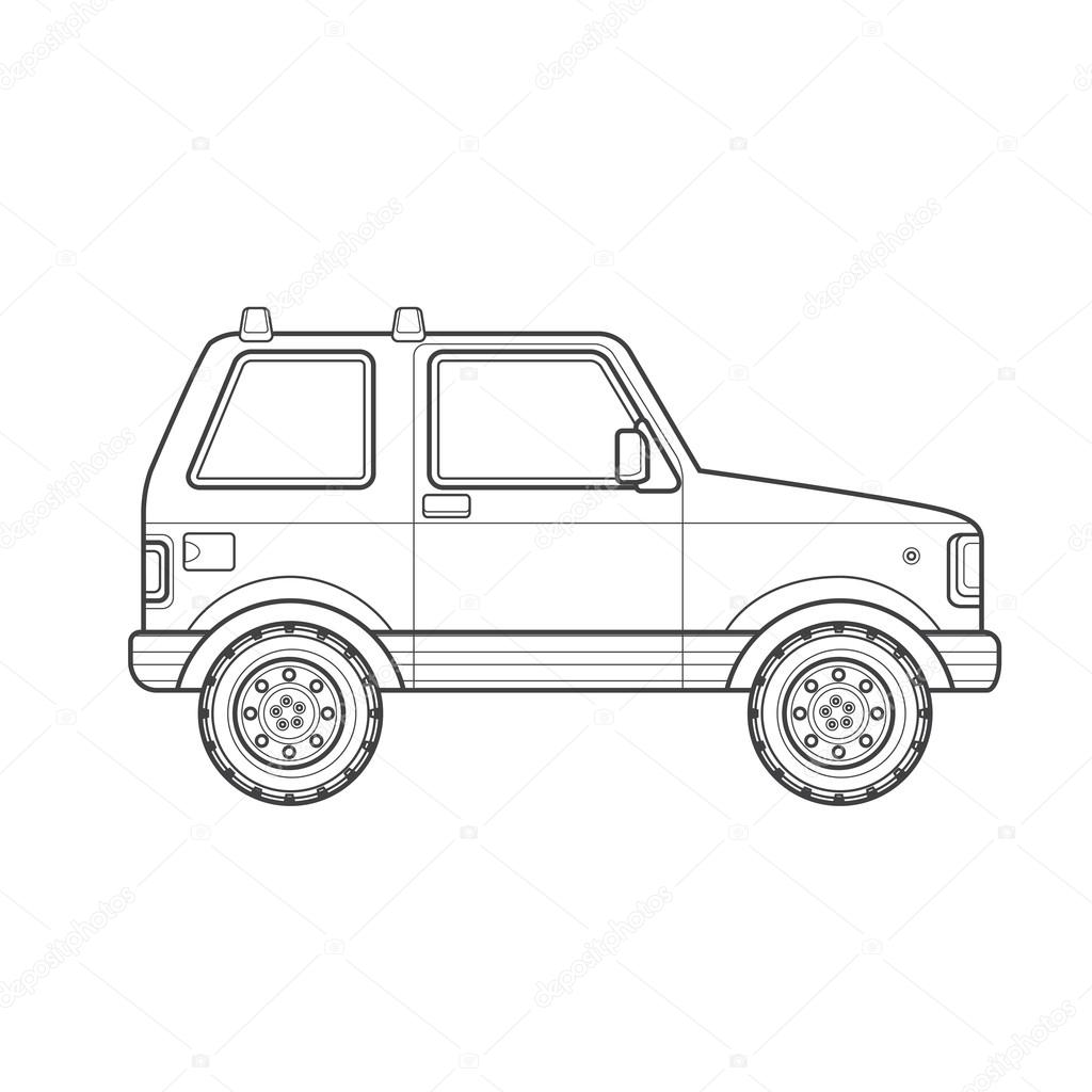 Outline Off Road Suv Car Body Style Illustration Ico Stock