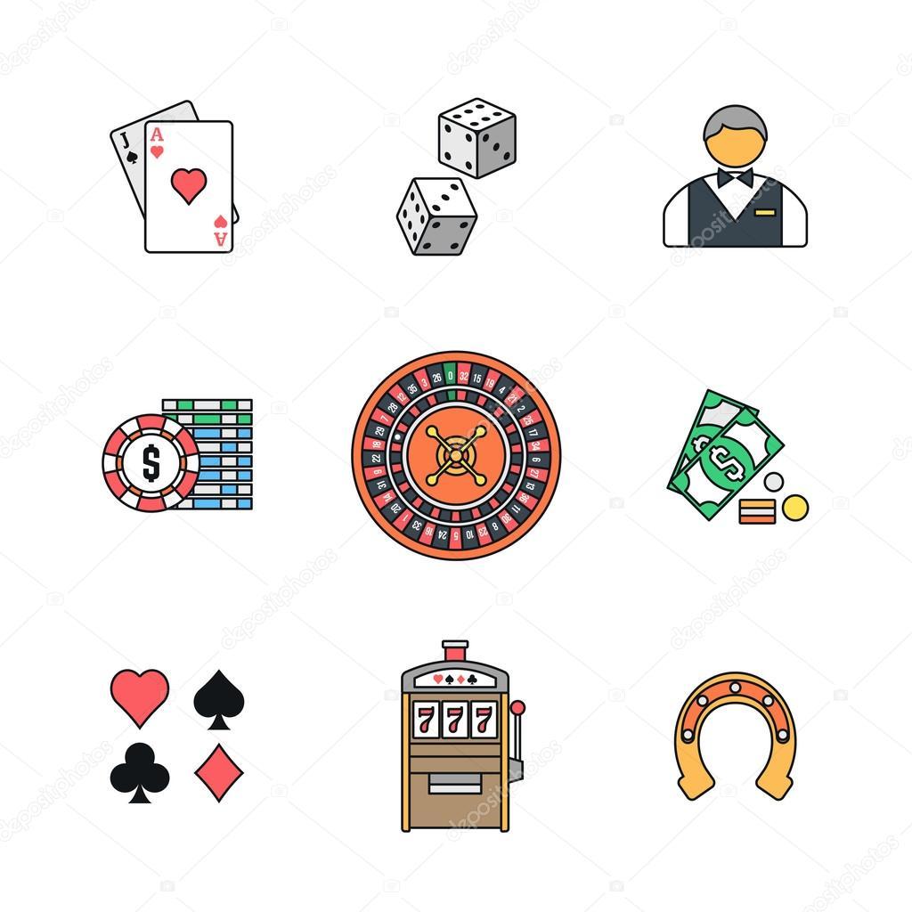 Farbige Umrisse verschiedener Glücksspiel-Symbole