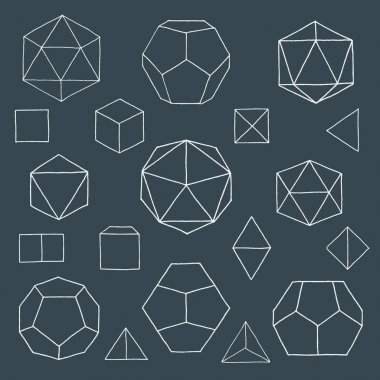 Hand drawn polyhedrons collectio
