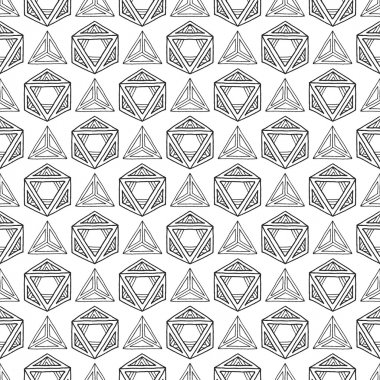 Hand drawn polyhedrons seamless patter