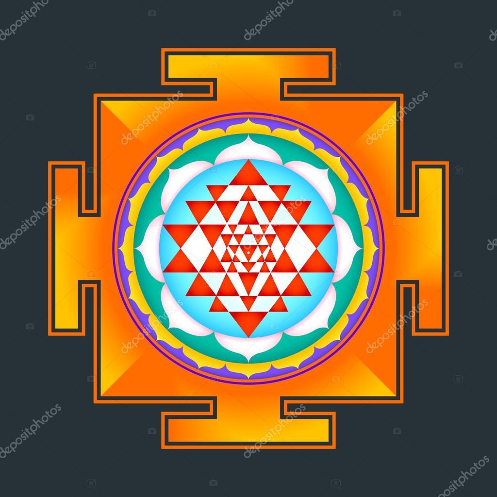 Colored Sri yantra illustratio — Stock Vector © TRIKONA