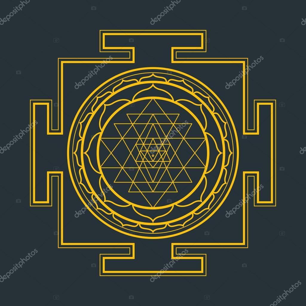 monocrome outline Sri yantra illustratio — Stock Vector © TRIKONA