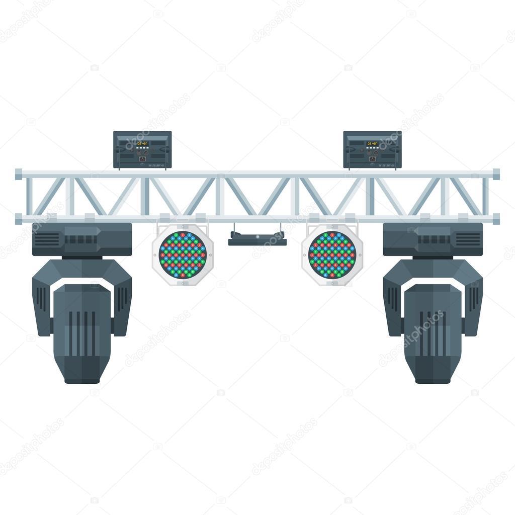 vector gekleurde vlakke design metalen frame concert podium truss verlichting verplaatsen van hoofd led par uv spotlight diverse plaatsen gesoleerde witte