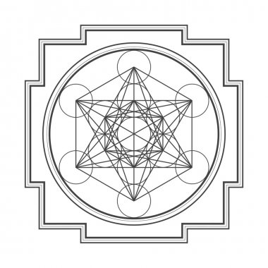 Monocrome outline metatron cube yantra illustratio