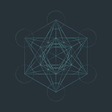 monocrome outline sacred metatron cube illustratio