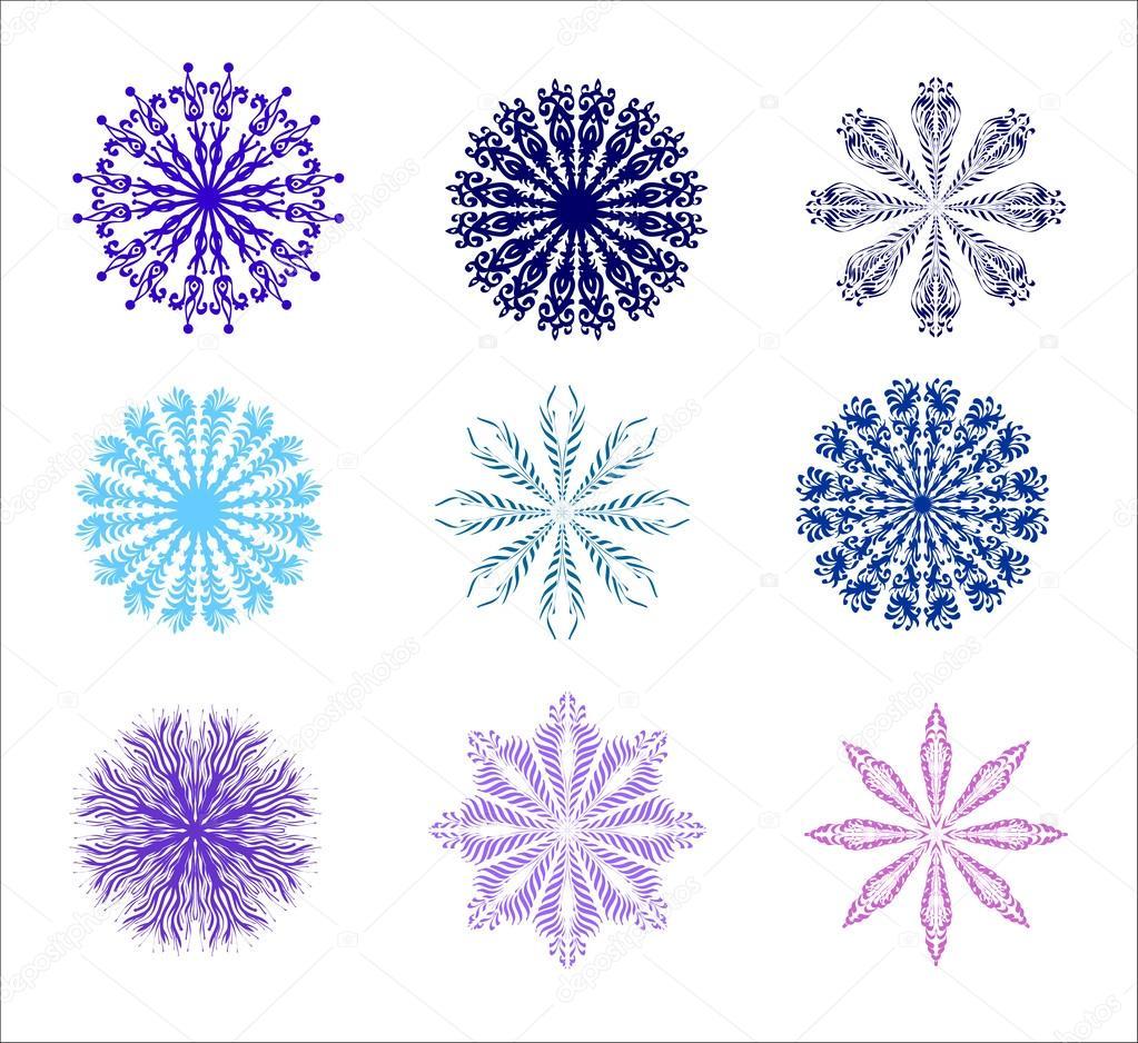 Colección de formas florales y los copos de nieve — Vector de stock ...