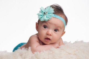 Baby Girl with Blue Flower Headband