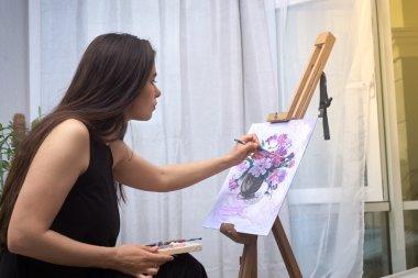 """Картина, постер, плакат, фотообои """"Картина художника краски на холсте"""", артикул 114463984"""